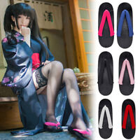 Japanese Women Geta Wood Sandals Flip Flops Slippers Flat Low Heel Cosplay Shoes