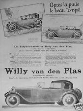 PUBLICITÉ 1925 LE TORPEDO-CABRIOLET WILLY VAN DEN PLAS - ADVERTISING