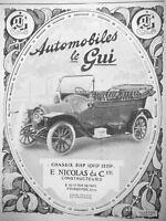 AD PRINT Original 1913 - AUTOMOBILES THE GUI CHASSIS 8HP-10-12HP E.NICOLAS & Cie
