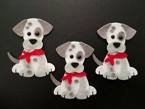 x3  Felt Dog embellishments.Die cuts. Animal die cuts