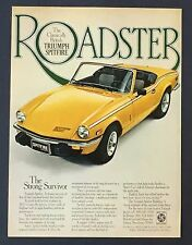 1978 Triumph Spitfire Roadster Advertisement Yellow Convertible Car Print AD