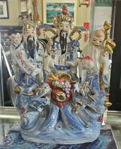 Chinese Sanxing Deities Fu Lu Shou Fortune Prosperity Longevity Porcelain Statue