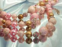 WOW Pink Faux Pearl Art Glass Vintage 50's 3-Strand Japan Signed Necklace 944n0
