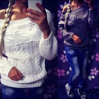 Women Long Sleeve Knitted Cardigan Loose Casual Sweater Jumper Tops Outwear Coat