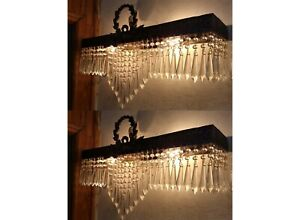 2 Empire Crystal Beads French Empire Wall Sconces Vintage Appliques Antique Art