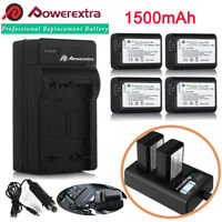 NP-FW50 Battery for Sony Alpha A6500 A6000 A6300 A7r A7 & LCD Dual USB Charger