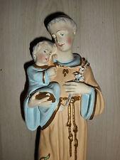 ANCIENNE STATUE RELIGIEUSE: Saint ANTOINE & JESUS / PLATRE POLYCHROME /N°4