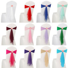 10/20/50pcs Spandex Stretch Tie Chair Band Sashes Bow Cover Wedding Party Decor