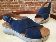 Clarks UnStructured Navy Blue Leather Un Karely Hail Slingback Sandal 8 W NEW
