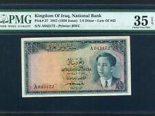 Iraq Kingdom:P-27,¼ Dinar,1947 (1950) * King Faisal II * PMG VF 35 EPQ *