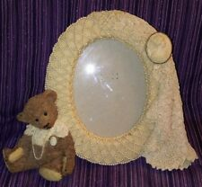 Gorgeous Oval Picture Frame Teddy Best Lace Pearls Cameo