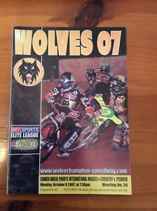 2007 WOLVERHAMPTON v COVENTRY v IPSWICH 8th OCTOBER ( GOOD CONDITION )