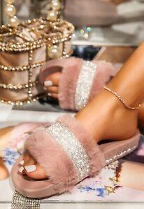 LADIES WOMENS SLIP ON DIAMANTE SLIDES FUAX FLUFFY SLIDERS SLIPPERS SANDALS SHOES