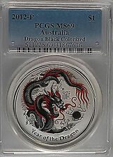PCGS 2012 Australia YEAR OF THE DRAGON Black Colorized Lunar $1 MS69 Silver-1oz