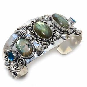Labradorite, Blue Topaz Gemstone Handmade Ethnic Cuff Jewelry Bracelet Adjs. lg