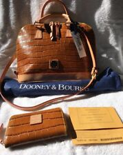 NWT DOONEY& BOURKE CROCO EMBOSSED LEATHER ZIP ZIP SATCHEL  w/ ACCESSORIES COGNAC