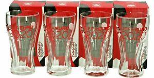 4 x Euro 2020 COCA COLA  Football European Cup Glasses New / Boxed. Memorabilia