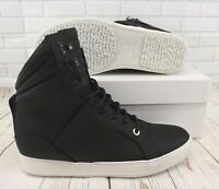 Cipher Mercenary Matt Black Leather Men's High Top Lace-Up Trainers Sneakers