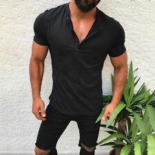 Mens Summer Henley Shirts Casual Slim Fit Muscle Tee Short Sleeve Tops T Shirt