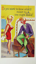 1950s Risque Comic Postcard Blonde Big Boobs Guitarist Folk Singer Autograph