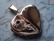 Kettenanhänger Herz Medaillon Silber mit Granat, Medaillon Herz Sterlingsilber