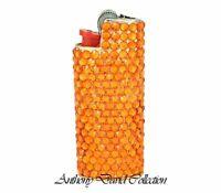 Orange Crystal Gold Metal Cigarette Lighter Case with genuine Swarovski Crystals