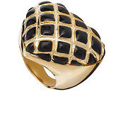 EX RIVER ISLAND GOLD/BLACK TONE  HEART RING (Large)
