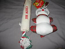 Dog Christmas Plush Toy Canvas Holiday Pet Puppy Play Chew Rabbit NEW!