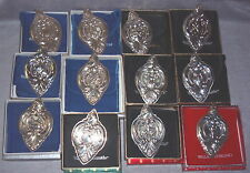 1988--1999 Wallace Grand Baroque Sterling 12 Days Christmas Ornament Set 12