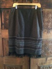 Isabella Bird Sz 12 Brown Tweed Fringe Hem Skirt Wool Poly Blend