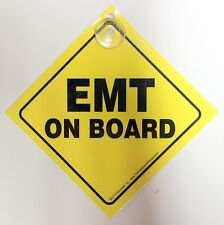 EMT Emergency Car On Board Sign Suction Cup Made In The USA Diamond Style