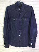 Club Monaco Mens Small Blue Denim Jean Shirt Pearl Snap Button Front Long Sleeve