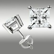 2.00 CT Princess Cut Lab Diamond Stud Earrings Basket Screw Back 14K White Gold