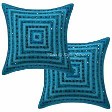 Indian Cotton Geometric 16x16 Embroidered Mirror Lace Throw Pillow Covers
