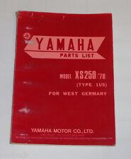 Ersatzteilliste / Spare Parts List Yamaha XS 250 '78 / XS250 Stand 1978