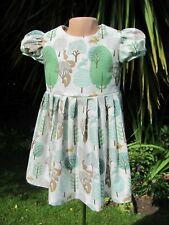 Girls Short-Sleeved Dress, Grey, Forest, 3-4 years, New, Handmade