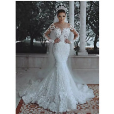 Lace Wedding dresses Mermaid Scoop Bridal Gown Custom Made Size 4 6 8 10 12+ C13