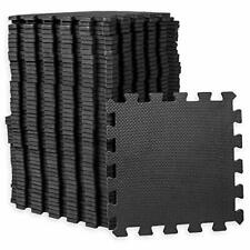 Black Interlocking Workout Mats for Home Gym Floor 1/2 Inch Thick 24 square foot