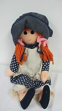 Happenings Cloth Doll Red Yarn Hair Navy White Polka Dot Dress Apron Vintage