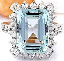 10.73CTW NATURAL AQUAMARINE AND DIAMOND RING IN 14K WHITE GOLD