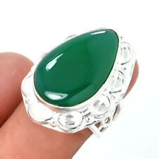 Green Onyx Gemstone Handmade 925 Sterling Silver jewelry Ring Size 7 4087