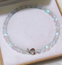 "New 10mm Beautiful White Gleamy Rainbow Moonstone Gems Round Bead Necklace 18"""