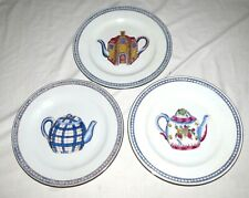 """Oriental Accent THREE 10.5"""" Plates with Teapot Decorations"""