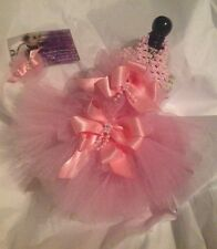 PINK DOG TUTU DRESS TULLE PET CAT CLOTHES XXXS PARTY WEDDING TINY PUPPY HAIRBOW