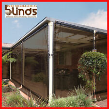 NEW!  2 x 240 x 240 Charcoal Bistro Cafe Blinds + 100mm Zip Joiner