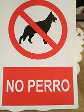 Vorsicht Hund NO PERRO  30 cm x 20 cm