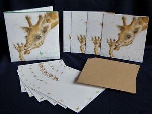 "Wrendale Notecard Wallet ""FIRST KISS"" - 2 giraffes by Hannah Dale"