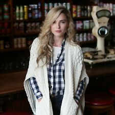 Inis Crafts Irish Cable Knit 100% Wool Poncho Cape / Shawlxmas Christmas Gift