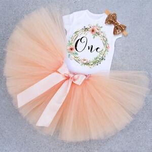 Baby Girl First Birthday Outfit Tutu Skirt Dress + Headband Cake Smash Party New