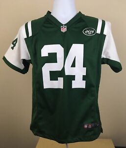 Youth NFL Nike New York Jets Revis #24 14-16 Football Jersey Green USED